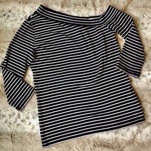 H&M Black And White Stripes Off Shoulder Shirt